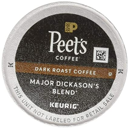 Peet's Coffee Major Dickason's Blend, Dark Roast, 60 Count Single Serve K-Cup Coffee Pods for Keurig Coffee Maker, Black